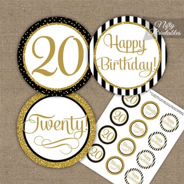 20th Birthday Cupcake Toppers - Black Gold