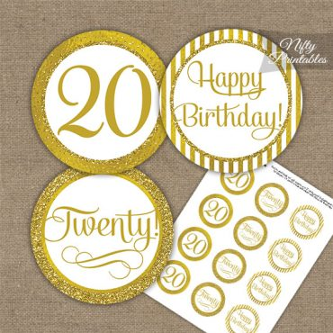 20th Birthday Cupcake Toppers - All Gold