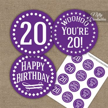 20th Birthday Cupcake Toppers - Purple White Impact