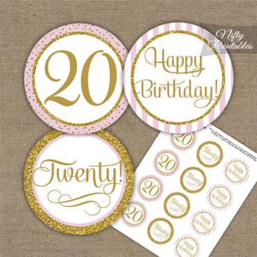 20th Birthday Cupcake Toppers - Pink Gold