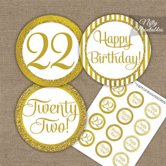 22nd Birthday Cupcake Toppers - All Gold