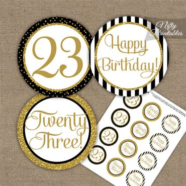 23rd Birthday Cupcake Toppers - Black Gold