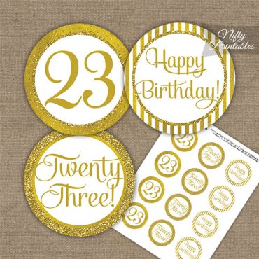 23rd Birthday Cupcake Toppers - All Gold