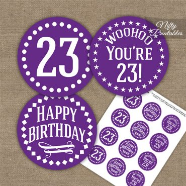 23rd Birthday Cupcake Toppers - Purple White Impact