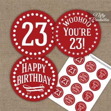 23rd Birthday Cupcake Toppers - Red White Impact