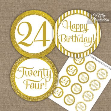 24th Birthday Cupcake Toppers - All Gold