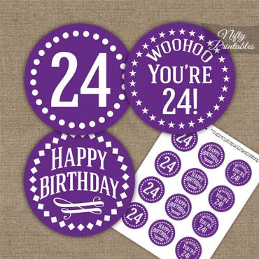 24th Birthday Cupcake Toppers - Purple White Impact