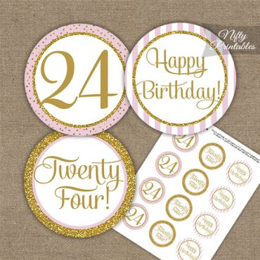 24th Birthday Cupcake Toppers - Pink Gold