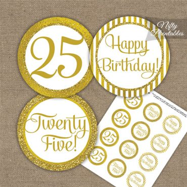 25th Birthday Cupcake Toppers - All Gold