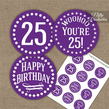 25th Birthday Cupcake Toppers - Purple White Impact