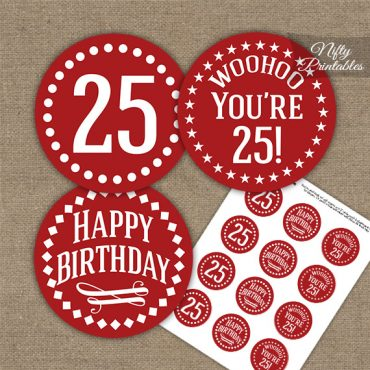 25th Birthday Cupcake Toppers - Red White Impact
