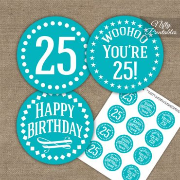 25th Birthday Cupcake Toppers - Turquoise White Impact