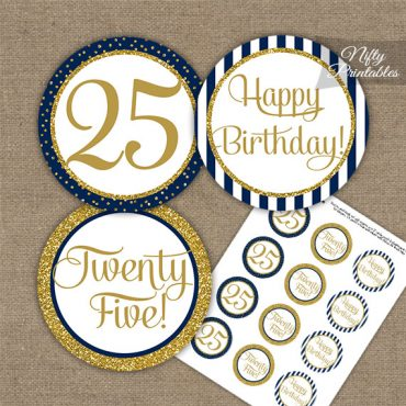 25th Birthday Cupcake Toppers - Navy Blue Gold