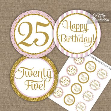 25th Birthday Cupcake Toppers - Pink Gold