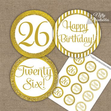 26th Birthday Cupcake Toppers - All Gold