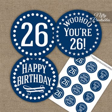 26th Birthday Cupcake Toppers - Navy White Impact