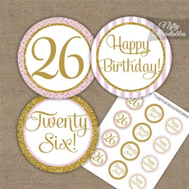 26th Birthday Cupcake Toppers - Pink Gold