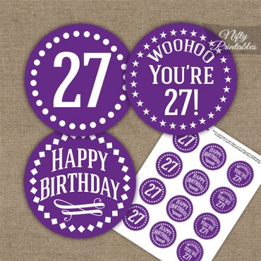 27th Birthday Cupcake Toppers - Purple White Impact