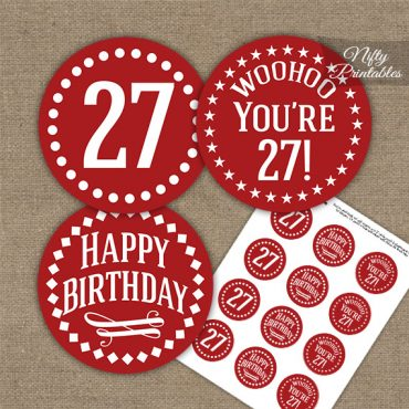 27th Birthday Cupcake Toppers - Red White Impact
