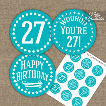 27th Birthday Cupcake Toppers - Turquoise White Impact