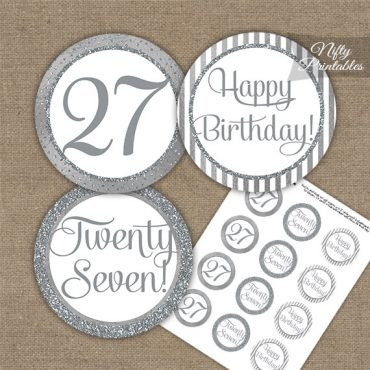 27th Birthday Cupcake Toppers - All Silver