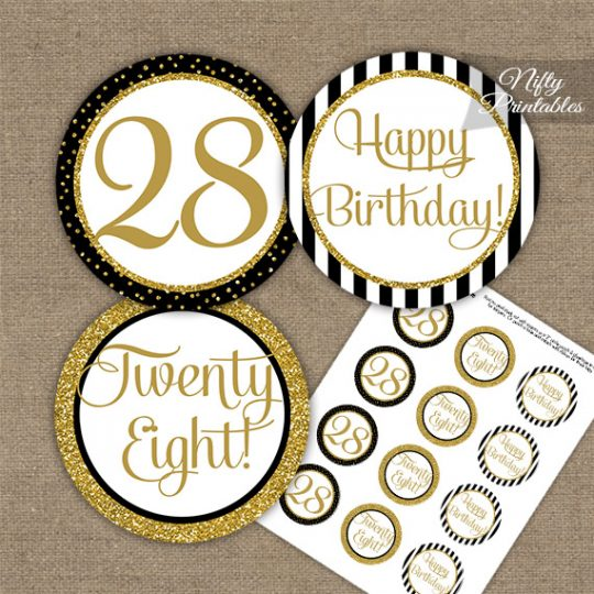 28th Birthday Cupcake Toppers - Black Gold