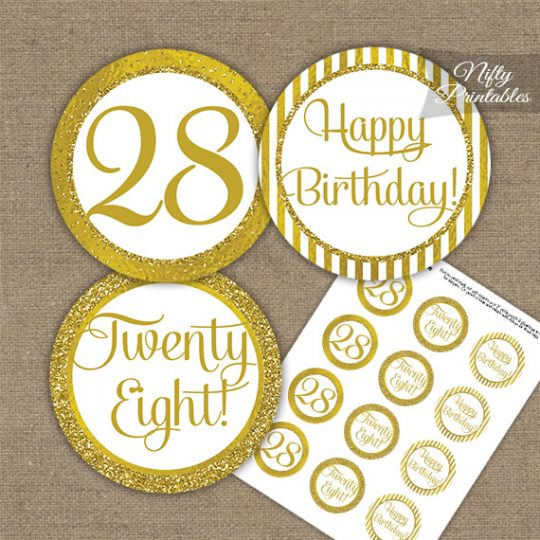 28th Birthday Cupcake Toppers - All Gold