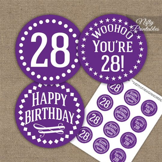 28th Birthday Cupcake Toppers - Purple White Impact