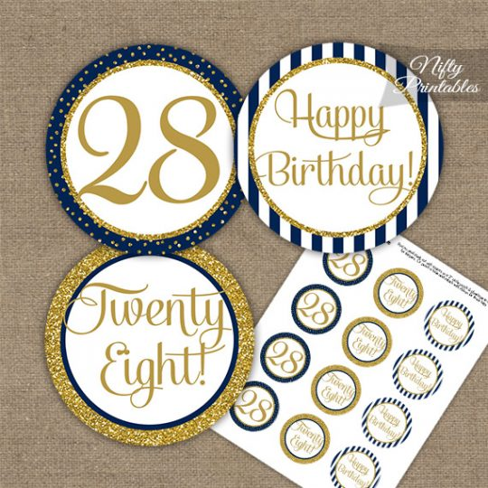 28th Birthday Cupcake Toppers - Navy Blue Gold