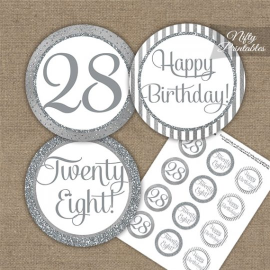 28th Birthday Cupcake Toppers - All Silver
