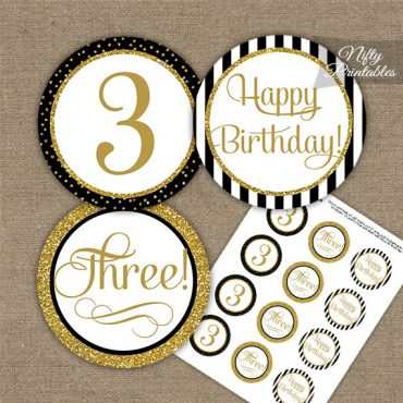 3rd Birthday Cupcake Toppers - Elegant Black Gold