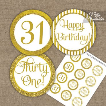 31st Birthday Cupcake Toppers - All Gold