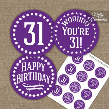 31st Birthday Cupcake Toppers - Purple White Impact