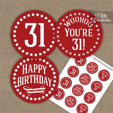 31st Birthday Cupcake Toppers - Red White Impact