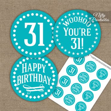 31st Birthday Cupcake Toppers - Turquoise White Impact