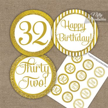 32nd Birthday Cupcake Toppers - All Gold