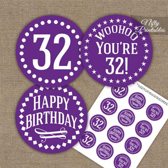32nd Birthday Cupcake Toppers - Purple White Impact