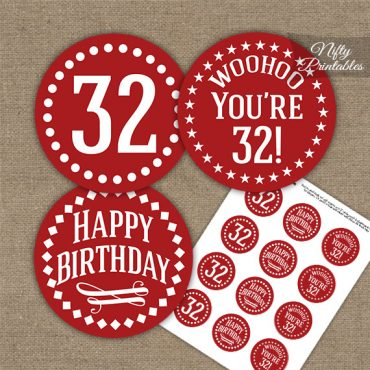 32nd Birthday Cupcake Toppers - Red White Impact