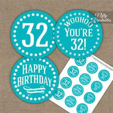 32nd Birthday Cupcake Toppers - Turquoise White Impact