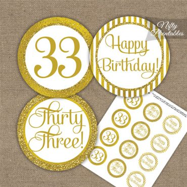 33rd Birthday Cupcake Toppers - All Gold