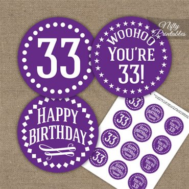 33rd Birthday Cupcake Toppers - Purple White Impact