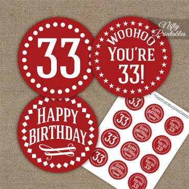 33rd Birthday Cupcake Toppers - Red White Impact