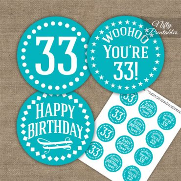 33rd Birthday Cupcake Toppers - Turquoise White Impact