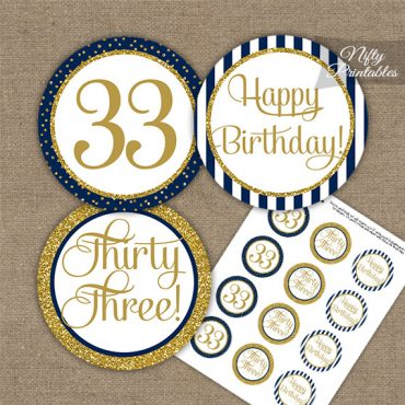 33rd Birthday Cupcake Toppers - Navy Blue Gold