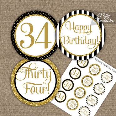 34th Birthday Cupcake Toppers - Black Gold