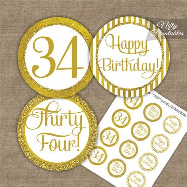 34th Birthday Cupcake Toppers - All Gold