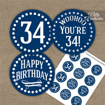 34th Birthday Cupcake Toppers - Navy White Impact