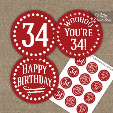 34th Birthday Cupcake Toppers - Red White Impact