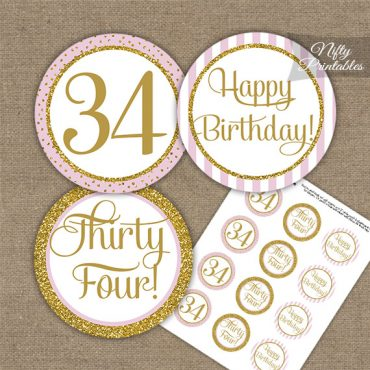 34th Birthday Cupcake Toppers - Pink Gold