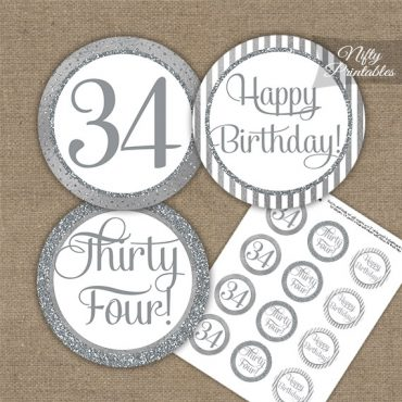 34th Birthday Cupcake Toppers - All Silver